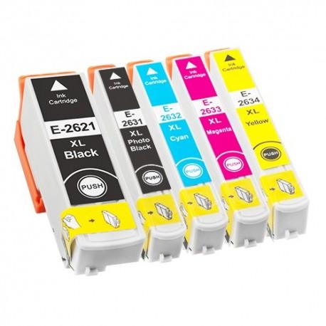 Sada 5ks Epson T2636 - 26XL (T2621,T2631,T2632,T2633,T2634) XP600,XP605,XP700,XP800 kompatibilní inkoustové náplně (cartridge)