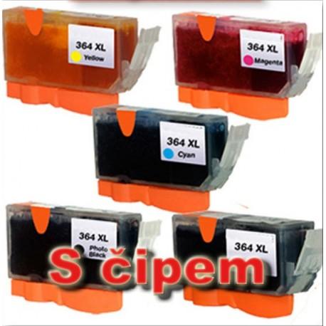 Sada 5ks HP 364XL (364 XL)  s čipem HP Photosmart C5380, B109, Deskjet D5460 - kompatibilní inkoustové náplně (cartridge) - HP