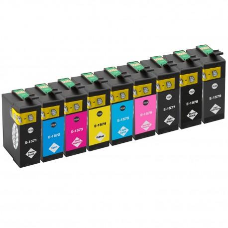 Sada 9ks Epson T1571, T1572, T1573, T1574, T1575, T1576, T1577, T1578, T1579 - R3000 kompatibilní inkoustové náplně