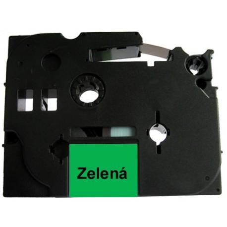 Páska (štítky) Brother TZ-721 (TZE721 P-touch), 9mm, délka 8m, černá / zelená, laminovaná - kompatibilní
