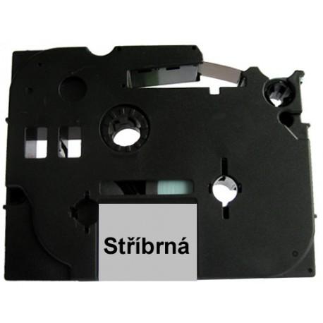 Páska (štítky) Brother TZ-931 (TZE931 P-touch), 12mm, délka 8m, černá / stříbrná, laminovaná