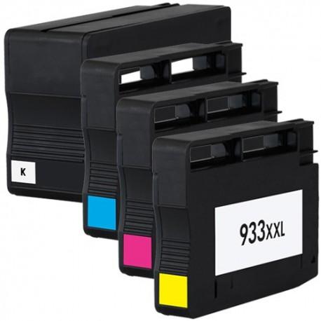 Sada 4ks HP 932XL / 933XL (932 XL, 932 XL)  s čipem HP Officejet 6100, 6600, 6700 - kompatibilní inkoustové náplně (cartridge)