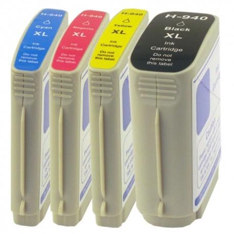 Sada 4ks HP 940XL (940 XL)  s čipem HP Officejet Pro 8000, 8500 - kompatibilní inkoustové náplně (cartridge)