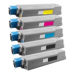 5x Toner Oki 44315308, 44315307, 44315306, 44315305  - C/M/Y/2xK kompatibilní - Oki C610, C610DN, C610N, C610DTN