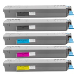 5x Toner Oki 44059108, 44059107, 44059106, 44059105  - C/M/Y/2xK kompatibilní - Oki C810, C810DN, C810N, C830, C830DN, C830N