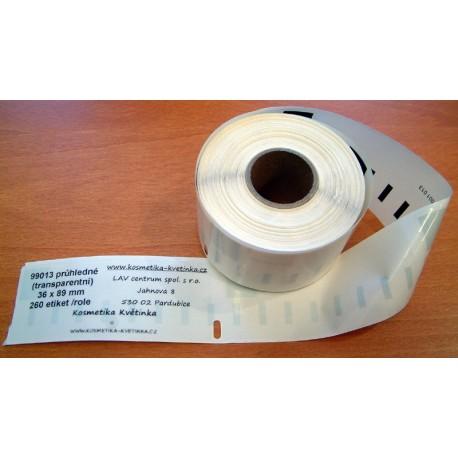 Etikety / Štítky Dymo Label Writer 89x36mm , 99013, S0722410, 260ks průhledné (transparentní) kompatibilní - Dymo