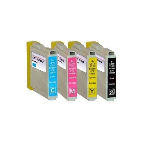 Sada 4ks Brother LC1000 / LC-970 XL - DCP-130, 135, 770, MFC-235, 360 - kompatibilní inkoustové náplně (cartridge)