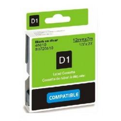Štítky Dymo D1 45010, S0720500, páska černá na průhledné, 12mm x 7m pro Dymo LabelManager, LabelPoint- kompatibilní