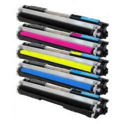 Sada 5x Toner HP CE310A, CE311A, CE312A, CE313A, 126A LaserJet CP1025 / Pro 100 Color MFP M175A - C/M/Y/2xK kompatibilní