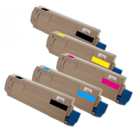 5x Toner Oki C5500 43324424, 43324423, 43324422, 43324421  - C/M/Y/2xK kompatibilní - Oki C5500N, C5800, C5900, C5800N, C5900N