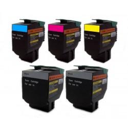 Sada 5x toner Lexmark 70C2HK0, 70C2HC0, 70C2HM0, 70C2HY0 - C/M/Y/2x K kompatibilní - CS310, CS310DN, CS410, CS510