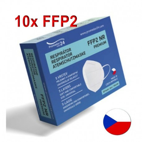 10x Respirátor Promedor24 FFP2 NR PREMIUM - proti prachům, aerosolům, COVID-19, koronavirus, coronavirus, SARS-CoV-2