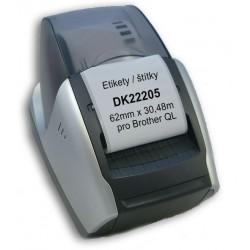 Etikety / Štítky DK22205 (DK-22205) 62mm x 30.48m kompatibilní pro Brother QL, bílé s držákem